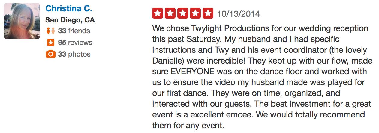 Christina review of wedding dj