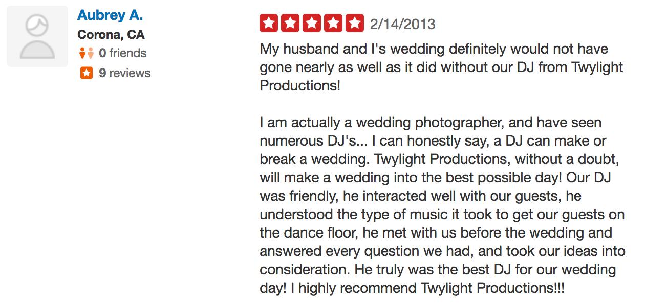 Aubrey wedding dj review