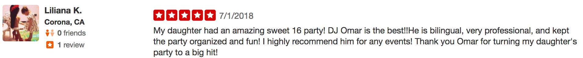 lillana dj sweet 16 5 star review
